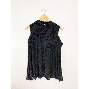 Adrianna Papell Black Floral Cold Shoulder Top